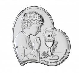 Obrazek srebrny Pamiątka Pierwszej Komunii Św. 11×11