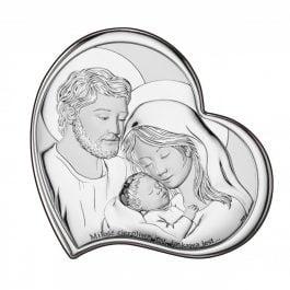 Obrazek srebrny Święta Rodzina z napisem 14X14