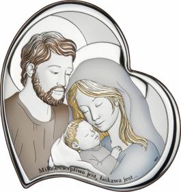 Obrazek srebrny Święta Rodzina z napisem kolorowy 14X14