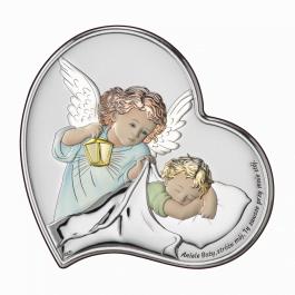 Obrazek srebrny Aniołek z latarenką nad dzieciątkiem kolorowy 8×8