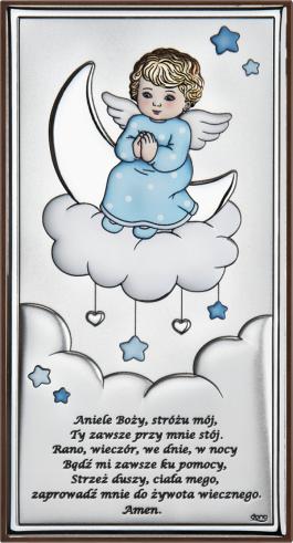 Obrazek srebrny Aniołek na chmurce Niebieski 8×15