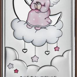 Obrazek srebrny Aniołek na chmurce Różowy 8×15