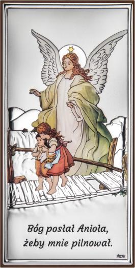 Obrazek srebrny Anioł na kładce kolorowy 8×15