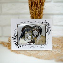 Obrazek srebrny Święta Rodzina z kolorem 19,5×14,5